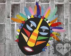 African Art For Kids, African Art Projects, African American Art, Collaborative Art Projects, Mask Drawing, 5th Grade Art, Kids Art Class, Africa Art, Tikal
