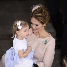 Swedish Prince Oscar's Christening Ceremony. Princess Madeleine of Sweden with dauther Princess Leonore.