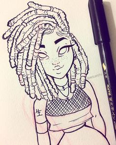 Lovin these short locs! I think I want my hair like this soon! And I'll be doing  a hair tutorial on how to draw locs soon! ✨ P.S I'm in love with this ink pen I'll be using this pen forevaaaaa • • • • #blackgirlmagic #locs #fauxlocs #girl #pretty #hair #draw #drawing #drawings #illustration #blackgirl #art #artwork #artist #love #happy #ink #pen #Godisgoodallthetime