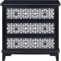 Cottage appeal meets contemporary drama in this 3-drawer chest, showcasing a bold black finish and lace-inspired drawer overlay. Pro...