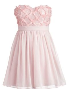 Strawberry Frosting Dress: Features a beautiful sweetheart neckline with padded bust for full support, twinkling sequins and delicately frayed ribbon decorating a strawberry-hued bodice in a downy diamond pattern, nipped and neat waist for a figure-flattering effect, and airy layers of tulle and organza comprising the skirt to finish.