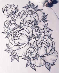 Tattoo of peony - linework, flora, flower, peony - addflash. Tatoo Flowers, Flower Tattoo Back, Flower Tattoo Shoulder, Peonies Tattoo, Back Tattoo, Flower Tattoo Drawings, Flower Tattoo Designs, Tattoo Sketches, Watercolor Tattoos