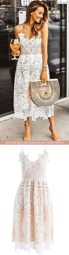This lace dress is so beautiful for a summer cocktail party! The simple accessories are a perfect complement to the dress and let it be the focal point of the outfit. Looks Chic, Looks Style, Ruffle Dress, Lace Skirt, Eyelet Dress, Summer Outfits, Summer Dresses, Evening Dresses, Summer Clothes