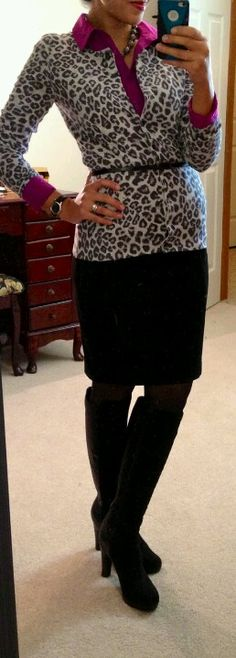 Animal print sweater and colored button up