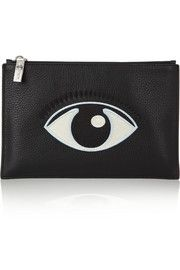 KENZOEmbroidered textured-leather pouch