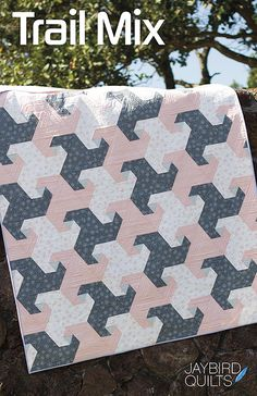 Meet the Jaybird Quilts remix on a traditional Snail's Trails quilt, Trail Mix! This traditional quilt design gets a fresh, modern spin with triangles and no Y seams! Jaybird Quilts, Star Quilts, Quilt Blocks, Quilting Projects, Quilting Designs, Sewing Projects, Quilt Design, Quilting Patterns, Quilting Ideas
