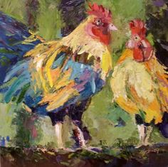Palette Knife Roosters, painting by artist Kay Smith