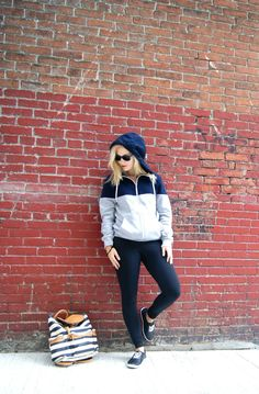 Sporty Spice- H&M Mens Hoodie, Lululemon Leggings, Charlotte Russe Quilted Sneakers, Tory Burch Backpack, Ray Ban Sunglasses