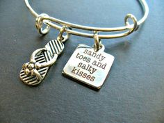 Sandy Toes And Salty Kisses Stainless Steel Charm and Bangle