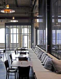 """Industrial Style Interior Design of Stork Restaurant in Amsterdam, The Netherlands """" Located on the Amsterdam waterfront, a refurbishment project has been finished by Pieter van der Pot of CUBE. Restaurant Amsterdam, Deco Restaurant, Restaurant Design, Restaurant Seating, Amsterdam Cafe, Restaurant Restaurant, Industrial Restaurant, Rustic Restaurant, Restaurant Lighting"""