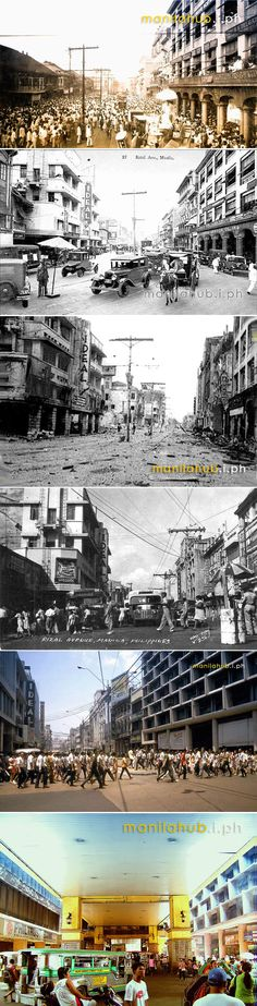 Avenida or Rizal Avenue through the years -- 1945 1970 and The ideal theatre serves as a reference point. Philippines Culture, Manila Philippines, Philippine Architecture, Jose Rizal, Photo Essay, Best Location, Past, Places To Visit, 1930s