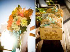 bright florals and fans for an Islamorada beach wedding / Karen Lisa Artistic Photography