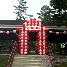 Circus Tent Balloon Sculpture. Carnival themed balloon decoration. #partywithballoons