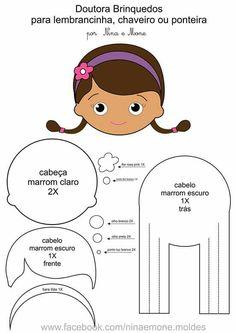Boneca Doutora Brinquedo(para lembrancinha, chaveiro, ponteira)com molde