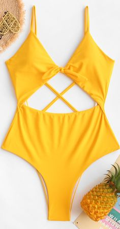 With a knotted front and adjustable crossing straps to accent the sleek open bac Bathing Suits For Teens, Summer Bathing Suits, Swimsuits For Teens, Cute Bathing Suits, Summer Suits, Cute Swimsuits, Camo Swimsuit, One Piece Swimsuit, Beachwear Fashion