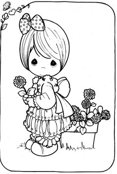 Girl with a flower - free coloring pages precious moments | Coloring Pages
