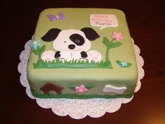 Black & White Puppy Cake for a dog lover. All MMF.