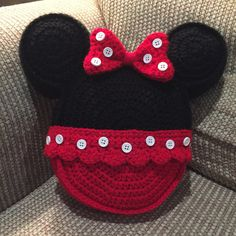 Items similar to Made to order Crochet pillow Minnie Mouse inspired icon mouse ears toss pillow throw pillow on Etsy Crochet Mickey Mouse, Crochet Disney, Crochet Baby, Minnie Mouse, Mouse Ears, Crochet Pillow Pattern, Crochet Cushions, Crochet Patterns, Crochet Crafts