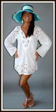 Raviya Resort White Embellished Swim Cover or Tunic Boho Peasant Sexy Macy's $56 | eBay