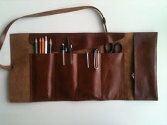 Artist's Tool Bag/Leather Pencil Case/Travel by shamanleatherworks, $48.00 B.