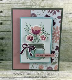 Jar of Love stamp set and Blooms and Bliss Designer Series Paper by Stampin' Up! www.stampstodiefor.com