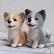 Подарки к праздникам ручной работы. Ярмарка Мастеров - ручная работа Маленькие веселые собачки Валяная игрушка из шерсти. Handmade.