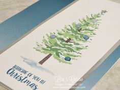 Blankets of faux snow and an ombre blue background create a beautiful card. Video tutorial teaches you how. Stampin' Up!'s Season Like Christmas.