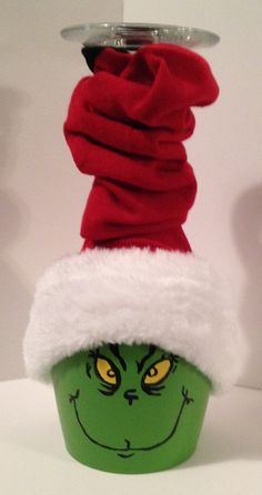 Holiday Grinch Decoration by DoraElfers on Etsy Grinch Christmas Decorations, Grinch Christmas Party, Grinch Ornaments, Grinch Party, Christmas Wine, Diy Christmas Ornaments, Christmas Themes, Christmas Projects, Holiday Crafts