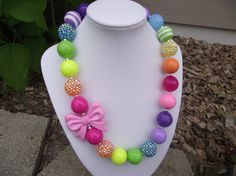 Rainbow with Pink Bow Chunky Necklace by littlesunshinedesign, $18.00