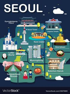 Map Of Seoul Attractions Vector And Illustration. : Map Of Seoul Attractions Vector And Illustration.
