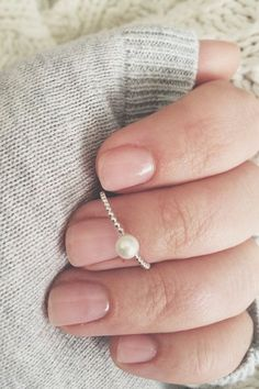 4mm pearl ring stacker stacking ring pearl ring by CallieJewelry Size 6.5