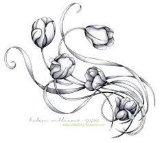 tulip tattoos black and white - Google Search
