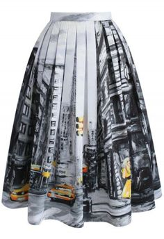 Downtown Impression Printed Midi Skirt