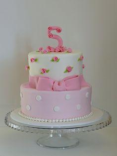 Love the little pink rosettes! Great little girl's birthday cake idea!