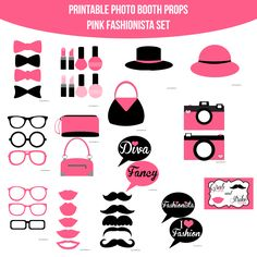 13 best fashion party images on pinterest printable photo booth instant download fashionista pink printable photo booth prop set solutioingenieria Images