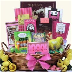 Easter comes just one time a year and It's going to take them that long to finish all the yummy treats in this beautiful gift basket. Our Divine Easter Sweets~Large Chocolate & Sweets Easter Gift Basket is filled with enough treats to satisfy every sweet tooth.