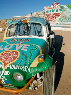 Salvation Mountain, near the town of Niland, California, on the eastern shore of the Salton Sea. The Places Youll Go, Places To See, Slab City, Salvation Mountain, Salton Sea, World Crafts, Jesus Saves, Outsider Art, Travel Goals