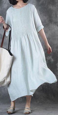 64fa39739361 Fine long linen dress Loose fitting Solid Loose Folded Pocket Women Elbow  Sleeves Blue Dress. Loose Summer ...