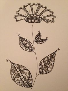 Zentangle doodle flower with leaves. Inspired by an Art Deco pattern on an antique vase I came across in Pinterest.