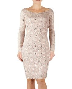 Lace Sequin One Sleeve Dress