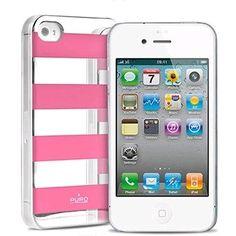 Coque iPhone 4/4S Puro Stripe mirroir rose sur www.etui-iphone.com #coque #iphone4 #miroir rose