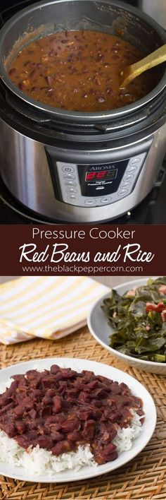 Red Beans and Rice Pressure Cooker Recipe - Make this classic Lousiana dish in a fraction of the time by using a pressure cooker. Kidney beans, ham, sausage, onions, pepper and celery make u this great dish served on rice.