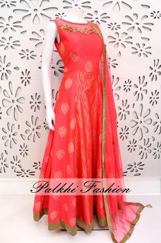 PalkhiFashion Exclusive Full Flair Peach Silk Outfit with Elegant Top Work.
