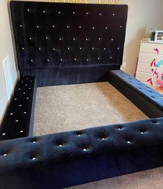 Tufted Bed Frame, Custom Headboard, Black Headboard, Leather Headboard, King Size Headboard, Black Bedding, Upholstered Beds, Custom Bed Frame, King Size Platform Bed