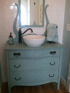 Dresser vanity antique furniture turned into bathroom vanity that metal dresser with a mirror would sure . Bathroom Renos, Bathroom Furniture, Antique Furniture, Small Bathroom, Painted Furniture, Home Furniture, Dresser Furniture, Modern Furniture, Antique Couch