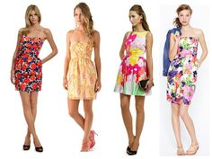 Fun floral party dresses for summer weddings.