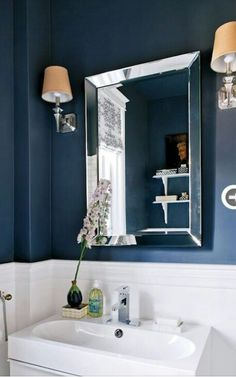 Another Idea For Our Half Bath Never Sure If Such Dark Colors - Navy blue bathroom accessories for small bathroom ideas