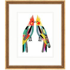 """Inaluxe's """"Little Cockatiels"""" Bird Art Print in Gold Frame & Double... ($280) ❤ liked on Polyvore featuring home, home decor, wall art, gold wall art, bird home decor, gold home accessories, framed wall art and bird wall art"""