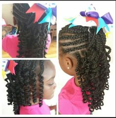 Cornrows n2 Ponytail & Hanging Down n Back Shirley Temple Curls on End