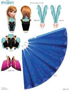 Anna Papercraft - #Frozen. Link correcto. Son 2 hojas a imprimir y en el link de la página de Disney, es el único lugar que lo trae completo.